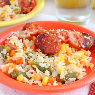 easy rice, vegetable and sausage casserole recipe