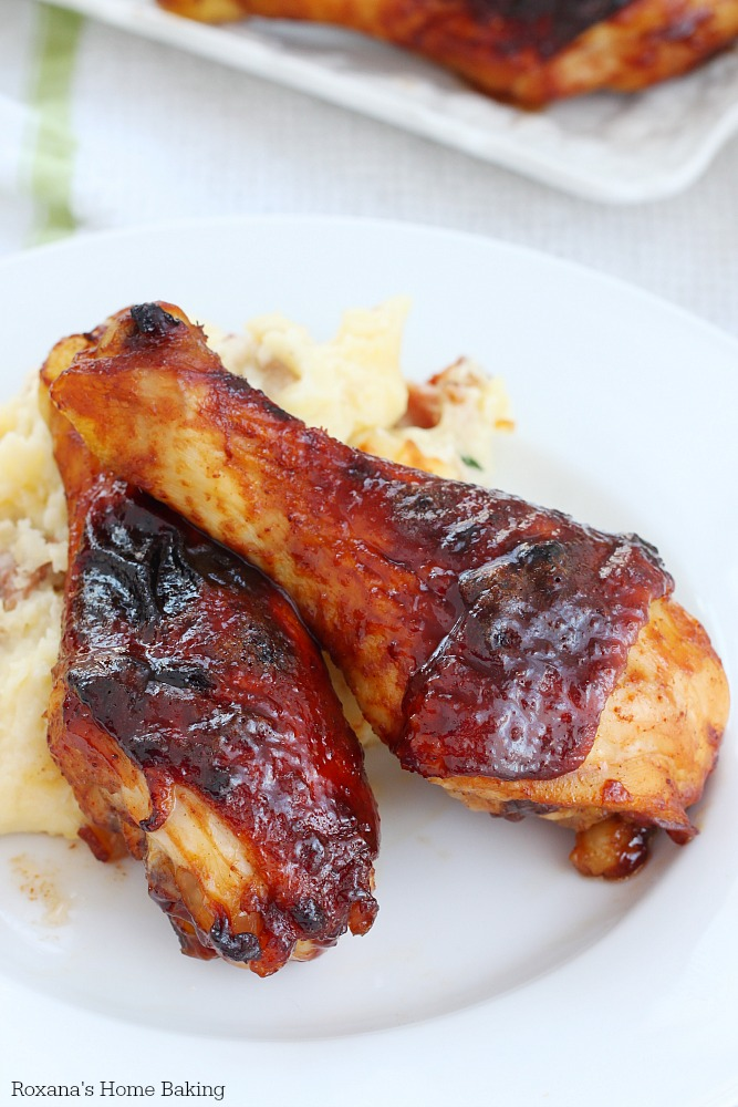 With just 5 minutes of prep time and less than 30 minutes in the oven, these full of flavor oven baked glazed chicken drumsticks are crispy on the outside and tender and moist on the inside!
