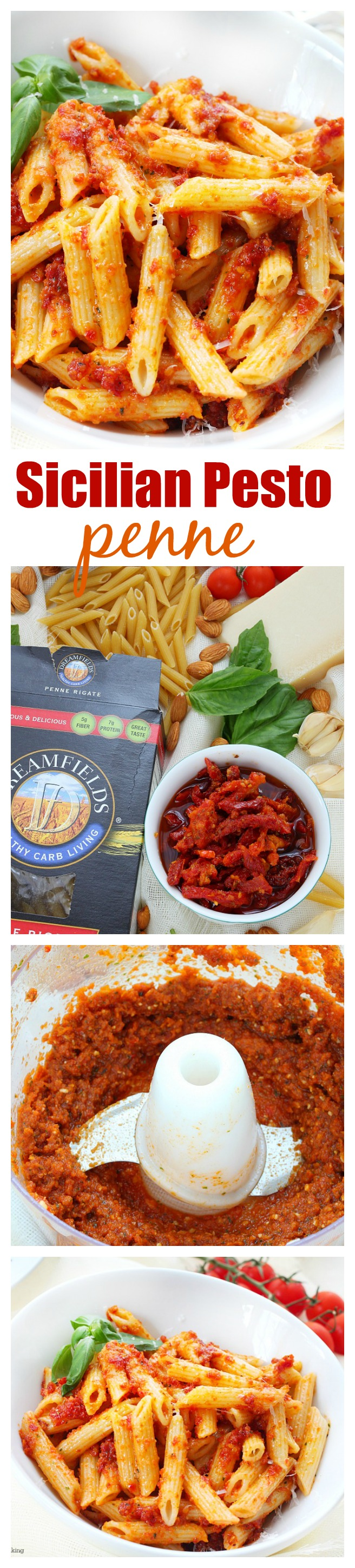 A super easy pasta dish made with the most flavorful sun dried tomato pesto! 6 ingredients and less than 15 minutes to make this delicious meal!