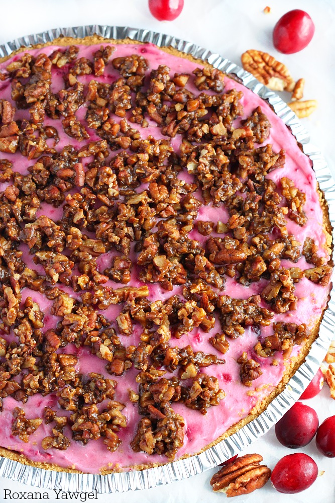 No need to fight for oven space! This irresistible cranberry cheesecake pie requires no baking and those candied pecans on top are to die for! A must for your holiday table!