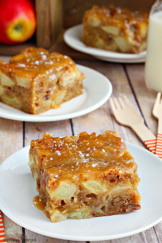Fresh apple cake with salted caramel graze recipe