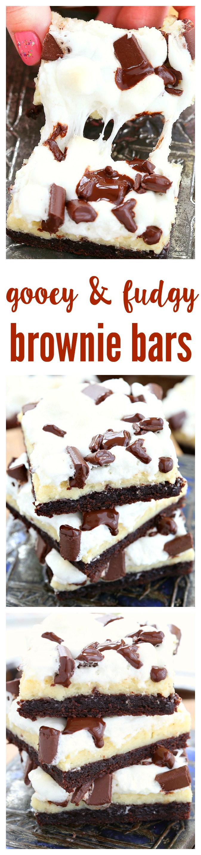 So amazingly easy to prepare, these gooey fudgy brownie bars will leave everyone drooling! Fudgy brownie, creamy cheesecake, gooey marshmallows and oozing chocolate - what's not to love?
