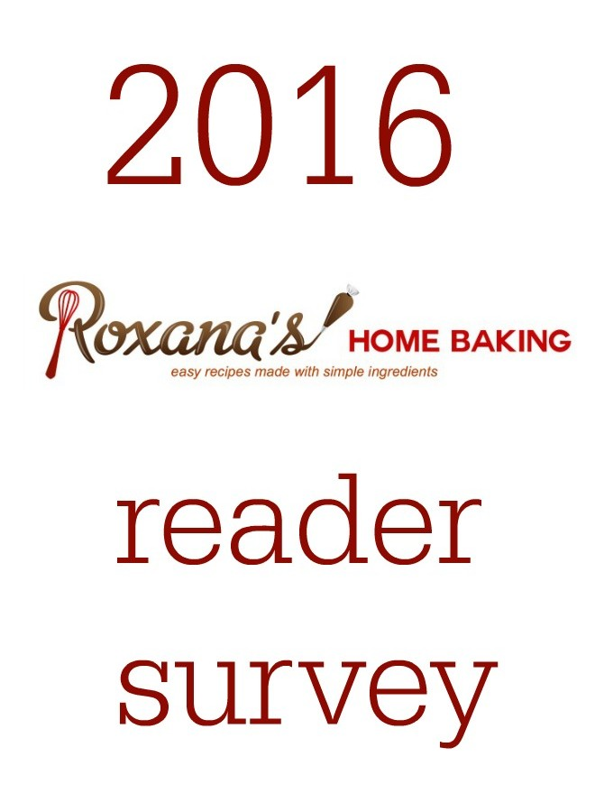 Roxana's Home Baking 2016 reader survey