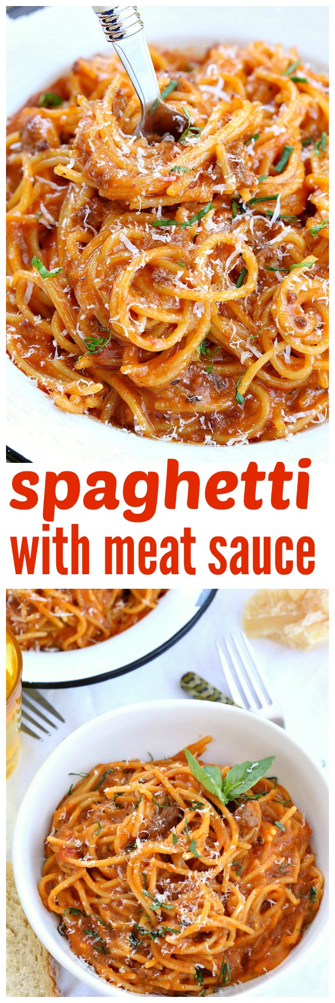 The easiest pasta dish you'll ever make, this flavorful spaghetti with meat sauce comes together in no time making it perfect for those busy nights.
