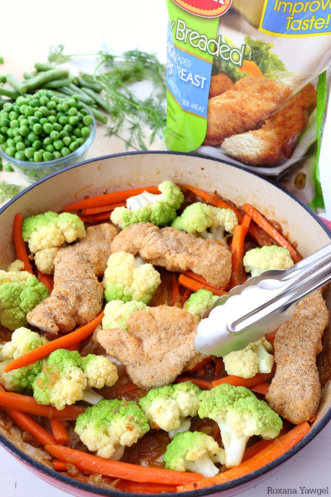 One pot meals are little life savers and this one pot breaded chicken and vegetable skillet is spring on a plate! Quick, easy and filled with colorful veggies!
