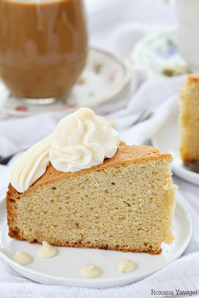 Delicious soft and tender cake with melted white chocolate in every bite, this white chocolate coffee cake is the perfect accompaniment to coffee, tea or as an afternoon snack.