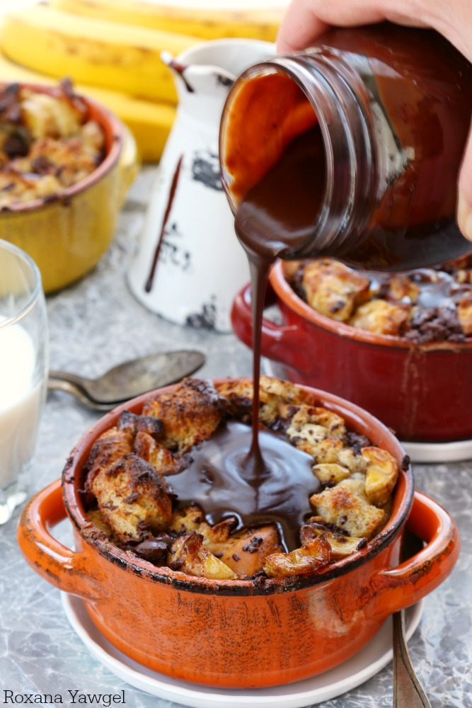 With only 15 minutes of prep time, you can have this piping hot chocolate banana bread pudding with chocolate sauce on the table in under an hour!