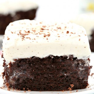 Double chocolate poke cake with vanilla bean frosting