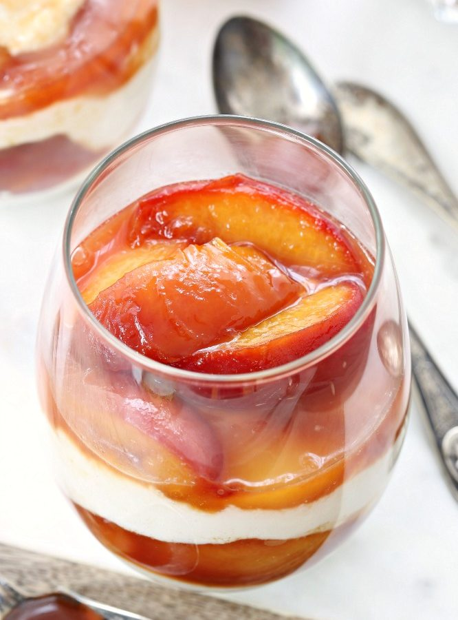 Take your backyard party up a notch with these grown up parfaits featuring layers of brandied peaches and creamy ricotta cheese. Prepare everything ahead of time and assemble just before serving.