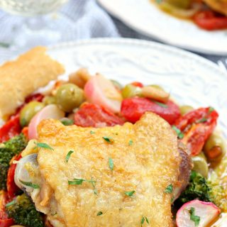One pot chicken thighs with fresh vegetables recipe