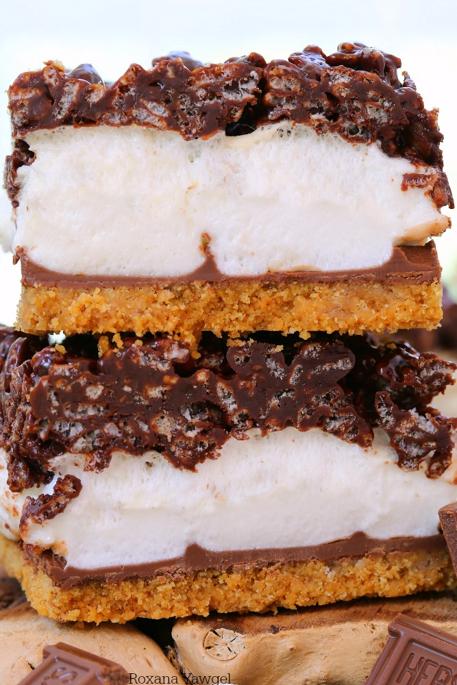 Layers of buttery graham cracker crust, oozing milk chocolate, gooey marshmallows, and chewy chocolate rice krispies, these smores bars will quickly become a summer favorite!