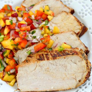 Grilled garlic and herb pork loin with peach salsa recipe