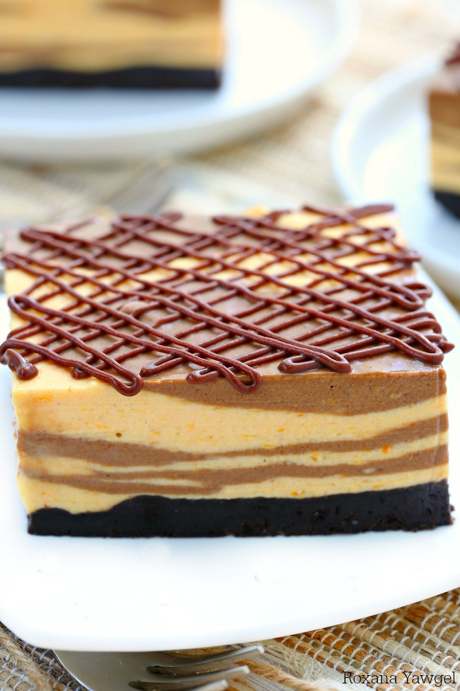 Marble No Bake Chocolate Pumpkin Cheesecake Bars Recipe
