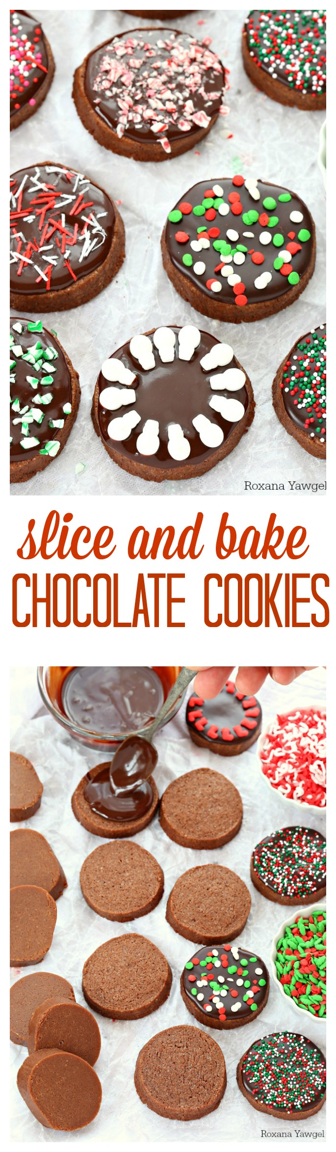 Quick and easy to make, these slice and bake chocolate cookies are packed with vanilla, butter and chocolate flavor. Top with a silky ganache for an irresistible holiday cookie!
