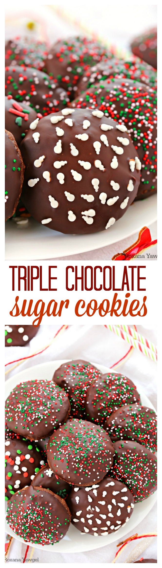 Quick and easy to make, these triple chocolate sugar cookies have a rich chocolate taste, are soft and chewy and packed with mini chocolate chips! No need to chill the cookie dough! Ready in minutes!