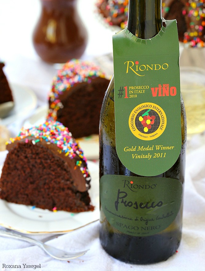 This sinfully delicious made from scratch double chocolate bundt cake is incredibly light and moist, sweet and chocolatey under a silky chocolate ganache.  #RiondoProsecco