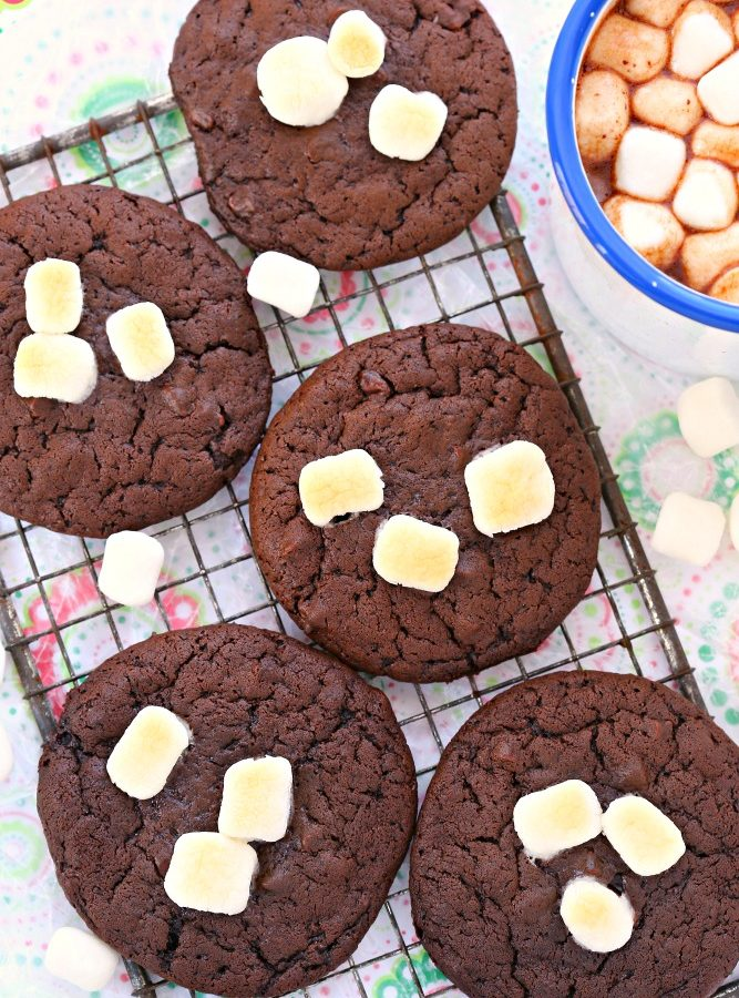 Made with real milk and chocolate and topped with toasted marshmallows, these hot chocolate and marshmallows cookies are rich, decadent, and the perfect addition to your holiday cookie tray.